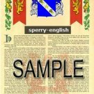 SPERRY - ENGLISH - Armorial Name History - Coat of Arms - Family Crest GIFT! 8.5x11