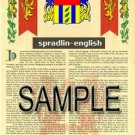 SPRADLIN - ENGLISH - Armorial Name History - Coat of Arms - Family Crest GIFT! 8.5x11