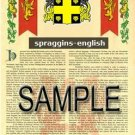 SPRAGGINS - ENGLISH - Armorial Name History - Coat of Arms - Family Crest GIFT! 8.5x11