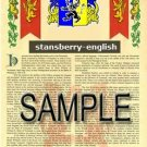 STANSBERRY - ENGLISH - Armorial Name History - Coat of Arms - Family Crest GIFT! 8.5x11