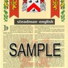 STEADMAN - ENGLISH - Armorial Name History - Coat of Arms - Family Crest GIFT! 8.5x11