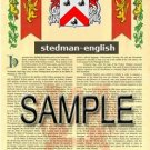 STEDMAN - ENGLISH - Armorial Name History - Coat of Arms - Family Crest GIFT! 8.5x11