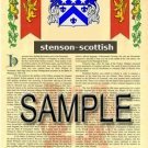 STENSON - SCOTTISH - Armorial Name History - Coat of Arms - Family Crest GIFT! 8.5x11