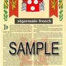 STGERMAIN - FRENCH - Armorial Name History - Coat of Arms - Family Crest GIFT! 8.5x11