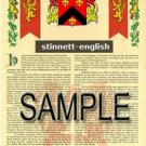 STINNETT - ENGLISH - Armorial Name History - Coat of Arms - Family Crest GIFT! 8.5x11