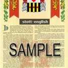 STOTT - ENGLISH - Armorial Name History - Coat of Arms - Family Crest GIFT! 8.5x11