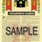 STRINGFELLOW - ENGLISH - Armorial Name History - Coat of Arms - Family Crest GIFT! 8.5x11