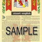 STUART - ENGLISH - Armorial Name History - Coat of Arms - Family Crest GIFT! 8.5x11