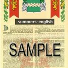 SUMMERS - ENGLISH - Armorial Name History - Coat of Arms - Family Crest GIFT! 8.5x11