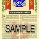 SWANNER - SCOTTISH - Armorial Name History - Coat of Arms - Family Crest GIFT! 8.5x11