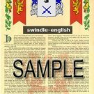 SWINDLE - ENGLISH - Armorial Name History - Coat of Arms - Family Crest GIFT! 8.5x11