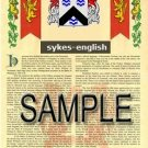 SYKES - ENGLISH - Armorial Name History - Coat of Arms - Family Crest GIFT! 8.5x11