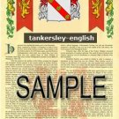 TANKERSLEY - ENGLISH - Armorial Name History - Coat of Arms - Family Crest GIFT! 8.5x11
