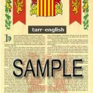 TARR - ENGLISH - Armorial Name History - Coat of Arms - Family Crest GIFT! 8.5x11