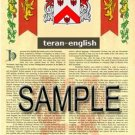 TERAN - ENGLISH - Armorial Name History - Coat of Arms - Family Crest GIFT! 8.5x11