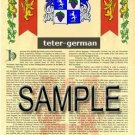 TETER - GERMAN - Armorial Name History - Coat of Arms - Family Crest GIFT! 8.5x11