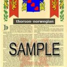THORSON - NORWEGIAN - Armorial Name History - Coat of Arms - Family Crest GIFT! 8.5x11