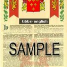TIBBS - ENGLISH - Armorial Name History - Coat of Arms - Family Crest GIFT! 8.5x11