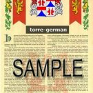 TORRE - GERMAN - Armorial Name History - Coat of Arms - Family Crest GIFT! 8.5x11