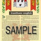 TRANTHAM - ENGLISH - Armorial Name History - Coat of Arms - Family Crest GIFT! 8.5x11