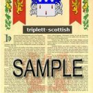 TRIPLETT - SCOTTISH - Armorial Name History - Coat of Arms - Family Crest GIFT! 8.5x11