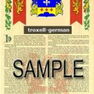 TROXELL - GERMAN - Armorial Name History - Coat of Arms - Family Crest GIFT! 8.5x11