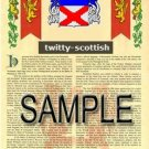 TWITTY - SCOTTISH - Armorial Name History - Coat of Arms - Family Crest GIFT! 8.5x11