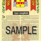TYE - ENGLISH - Armorial Name History - Coat of Arms - Family Crest GIFT! 8.5x11