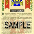 WALL - ENGLISH - Armorial Name History - Coat of Arms - Family Crest GIFT! 8.5x11