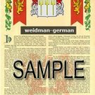WEIDMAN - GERMAN - Armorial Name History - Coat of Arms - Family Crest GIFT! 8.5x11