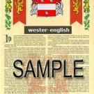 WESTER - ENGLISH - Armorial Name History - Coat of Arms - Family Crest GIFT! 8.5x11