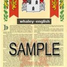 WHALEY - ENGLISH - Armorial Name History - Coat of Arms - Family Crest GIFT! 8.5x11