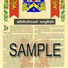 WHITEHEAD - ENGLISH - Armorial Name History - Coat of Arms - Family Crest GIFT! 8.5x11