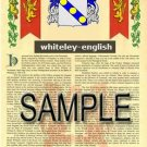 WHITELEY - ENGLISH - Armorial Name History - Coat of Arms - Family Crest GIFT! 8.5x11