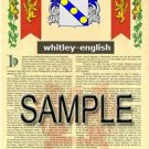 WHITLEY - ENGLISH - Armorial Name History - Coat of Arms - Family Crest GIFT! 8.5x11