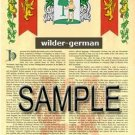 WILDER - GERMAN - Armorial Name History - Coat of Arms - Family Crest GIFT! 8.5x11