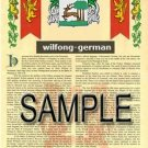 WILFONG - GERMAN - Armorial Name History - Coat of Arms - Family Crest GIFT! 8.5x11