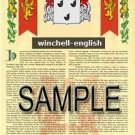 WINCHELL - ENGLISH - Armorial Name History - Coat of Arms - Family Crest GIFT! 8.5x11