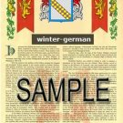 WINTER - GERMAN - Armorial Name History - Coat of Arms - Family Crest GIFT! 8.5x11