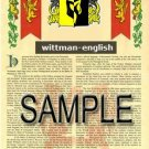 WITTMAN - ENGLISH - Armorial Name History - Coat of Arms - Family Crest GIFT! 8.5x11