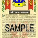 WITTMAN - GERMAN - Armorial Name History - Coat of Arms - Family Crest GIFT! 8.5x11