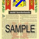 WOLD - BORDERLANDS - Armorial Name History - Coat of Arms - Family Crest GIFT! 8.5x11