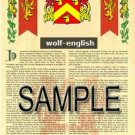 WOLF - ENGLISH - Armorial Name History - Coat of Arms - Family Crest GIFT! 8.5x11
