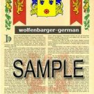 WOLFENBARGER - GERMAN - Armorial Name History - Coat of Arms - Family Crest GIFT! 8.5x11