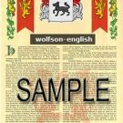 WOLFSON - ENGLISH - Armorial Name History - Coat of Arms - Family Crest GIFT! 8.5x11