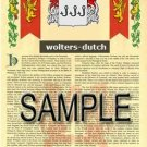 WOLTERS - DUTCH - Armorial Name History - Coat of Arms - Family Crest GIFT! 8.5x11