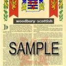 WOODBURY - SCOTTISH - Armorial Name History - Coat of Arms - Family Crest GIFT! 8.5x11