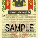 WOODCOCK - ENGLISH - Armorial Name History - Coat of Arms - Family Crest GIFT! 8.5x11