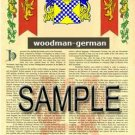 WOODMAN - GERMAN - Armorial Name History - Coat of Arms - Family Crest GIFT! 8.5x11