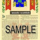 WOODS - SCOTTISH - Armorial Name History - Coat of Arms - Family Crest GIFT! 8.5x11